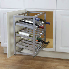 Glidez Sliding Under-Cabinet Wine Rack Brushed metal
