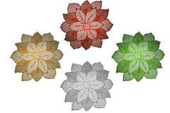Holiday Decorative Poinsettia Vinyl Placemat 18 Inch Diameter Place Mat
