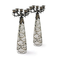 Pair of Glass Society Candelabras