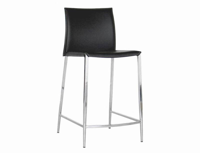 Baxton Studio Jenson Black Leather Counter Height Stool
