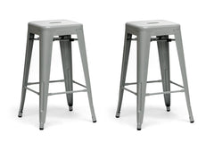 Baxton Studio Counter Stool in Gray in Set of 2