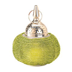 Green Beaded Candle Lantern