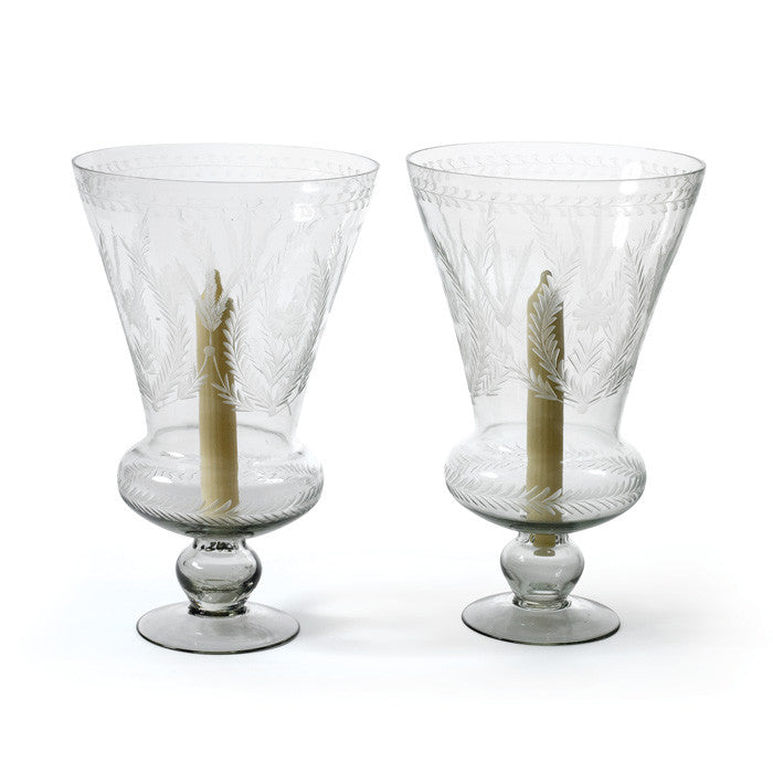 Pair Of Glass Maison Hurricanes
