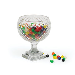 Del Mar Glass Pedestal Bowl With Hand Cut Finish