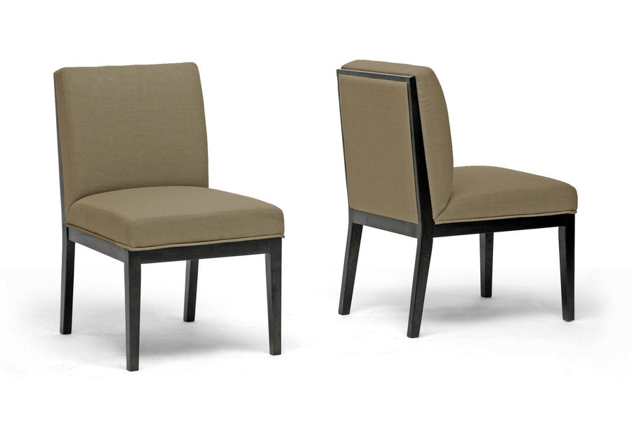 Baxton Studio Catalina Taupe Twill Fabric Dining Chair in set of 2