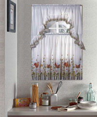 Kitchen Curtain Set, Complete Tier & Swag Set, Rooster Pattern