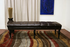 Baxton Studio Lexington Bonded Leather Wheeled Bench