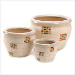 Checker Planter Trio Set