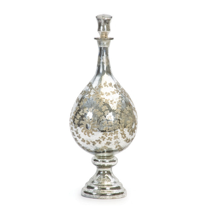 Antique Silver Etched Tear Drop Vase