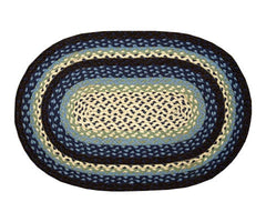 Blueberry/Creme Braided Rug In Different Sizes And Shapes
