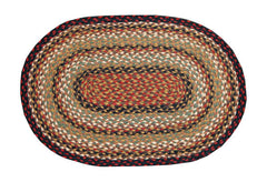 Burgundy/Mustard/Ivory Braided Rug In Different Shapes And Sizes