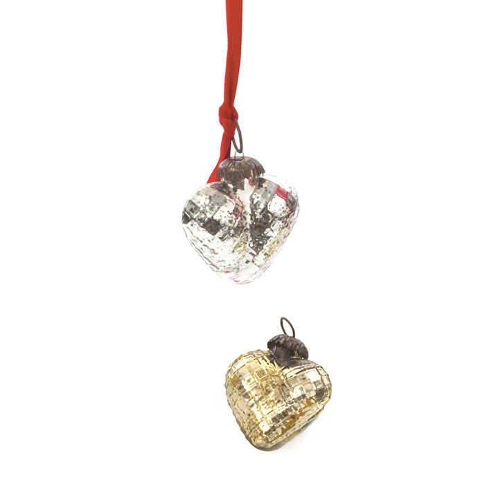 Heart Ornaments with Antique Silver Finish