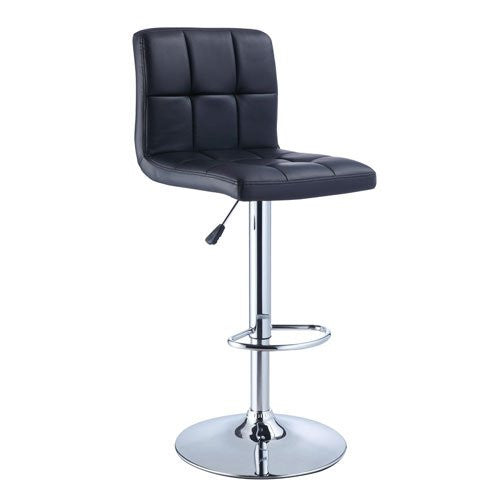 Powell Quilted Faux Leather and Chrome Adjustable Height Bar Stool - Available in Red, Black and White Colors