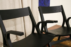 Baxton Studio Nes Black Wood Modern Dining Chair-Arm Chair in Set of 2