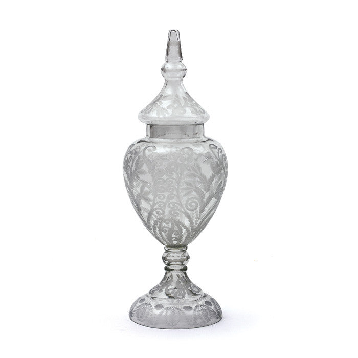 Etched Glass Apothecary Jar