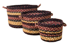 Burgundy/Black/Mustard Utility Baskets In Different Sizes