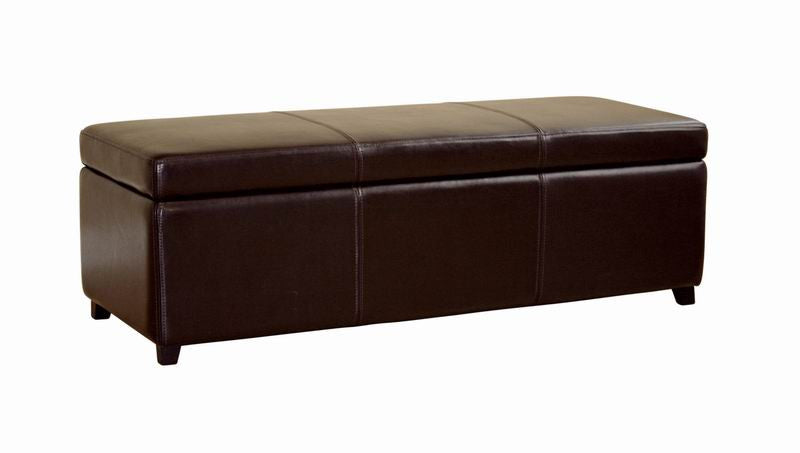 Baxton Studio Dark Brown Full Leather Storage Bench Ottoman with Stitching