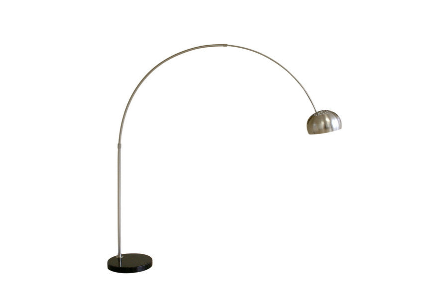 Baxton Studio Arco Style Floor Lamp Round or Flat Marble Base