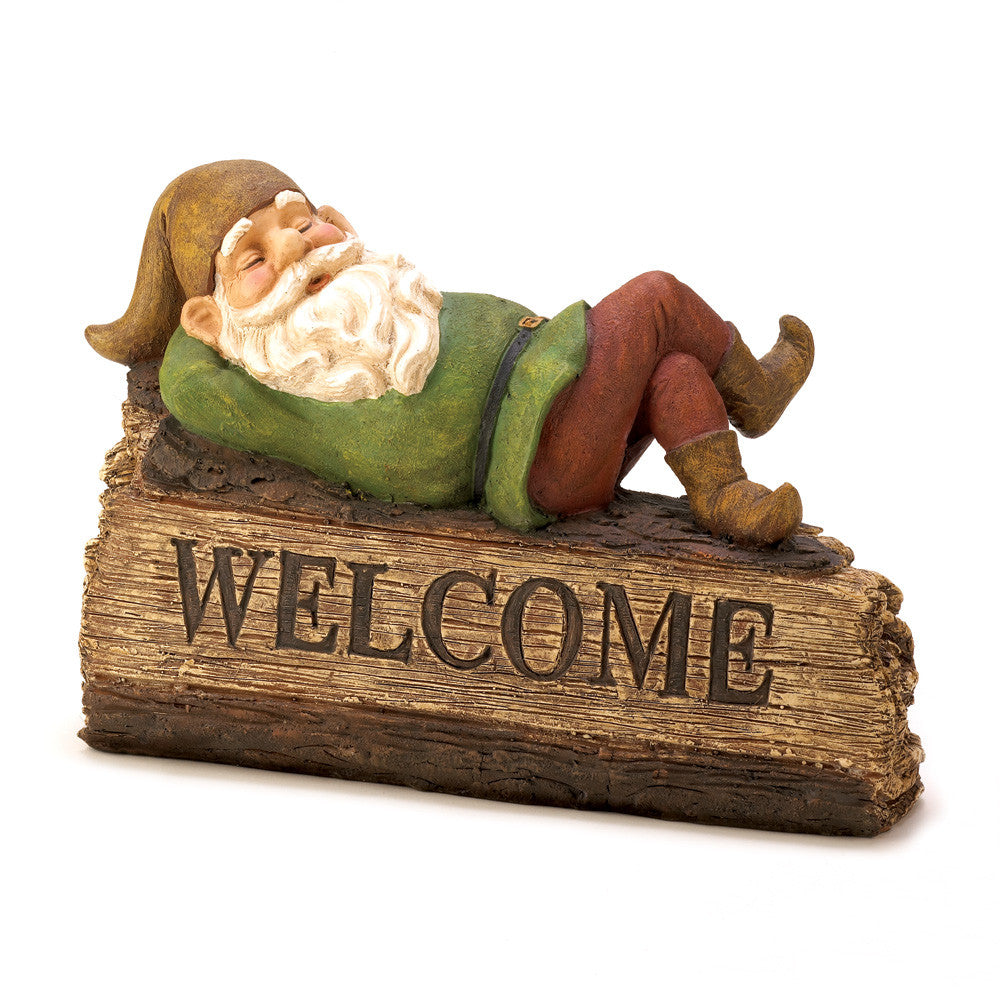 Sleepy Gnome Welcome Sign