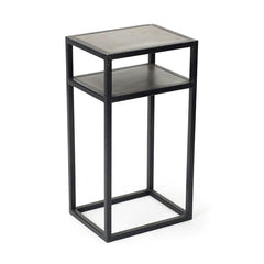 Iron with Inset Steel Top Modern Table