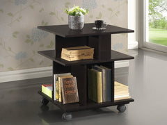 Baxton Studio Warren Dark Brown Wheeled Storage Shelf
