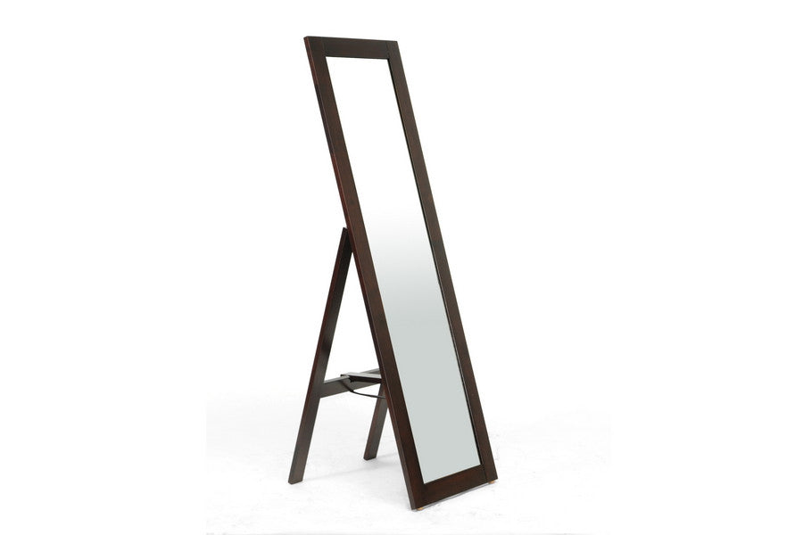 Baxton Studio Lund Dark brown Wood Modern Mirror