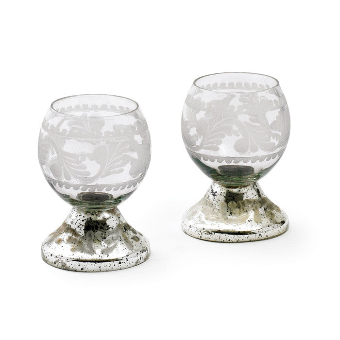 Set of Four Small Glass Crystal Ball