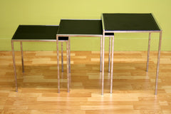 Baxton Studio Deo Black Leather Nesting Table