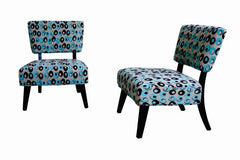 Baxton Studio Turquoise and Brown Pattered Fabric Club Chairs