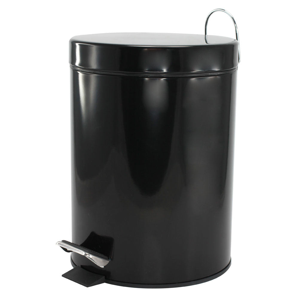 Flip Top Black Trash Can