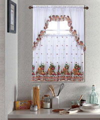 Kitchen Curtain Set, Complete Tier & Swag Set, Fruit Basket Pattern