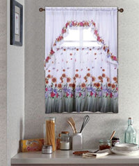 Kitchen Curtain Set, Complete Tier & Swag Set, Blossom Pattern