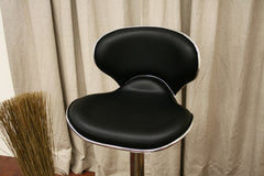 Baxton Studio Orion Black Faux Leather Modern Bar Stool in Set of 2