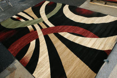 New Contemporary Brown and Beige Modern Wavy Circles Area Rugs
