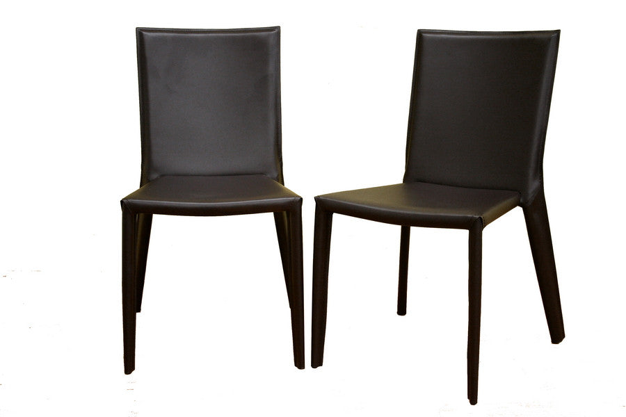 Baxton Studio Semele Leather Dining Chair Set of Two