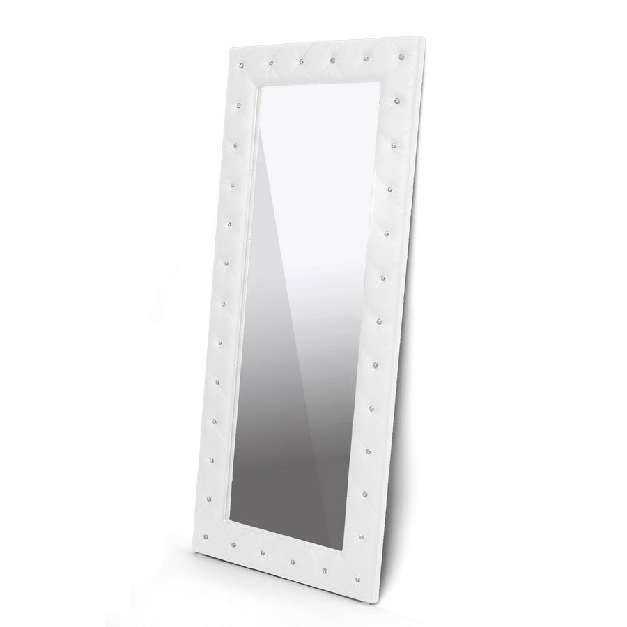Baxton Studio Stella Crystal Tufted White Floor Mirror