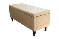 Anzy Lift Top Storage Bench with Tufted Accents Beige Fabric