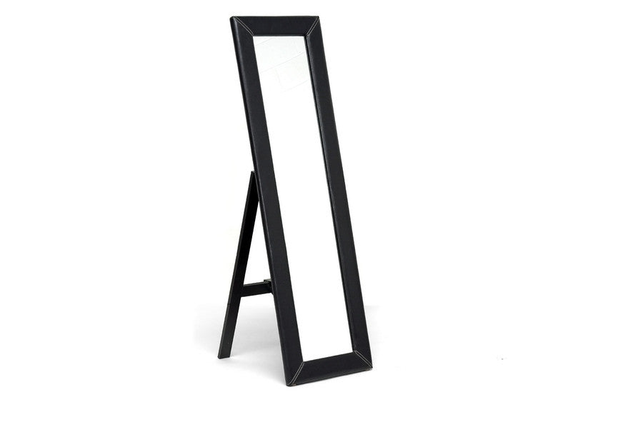 Baxton Studio Mclean Dark Brown Mirror with Built-In Stand