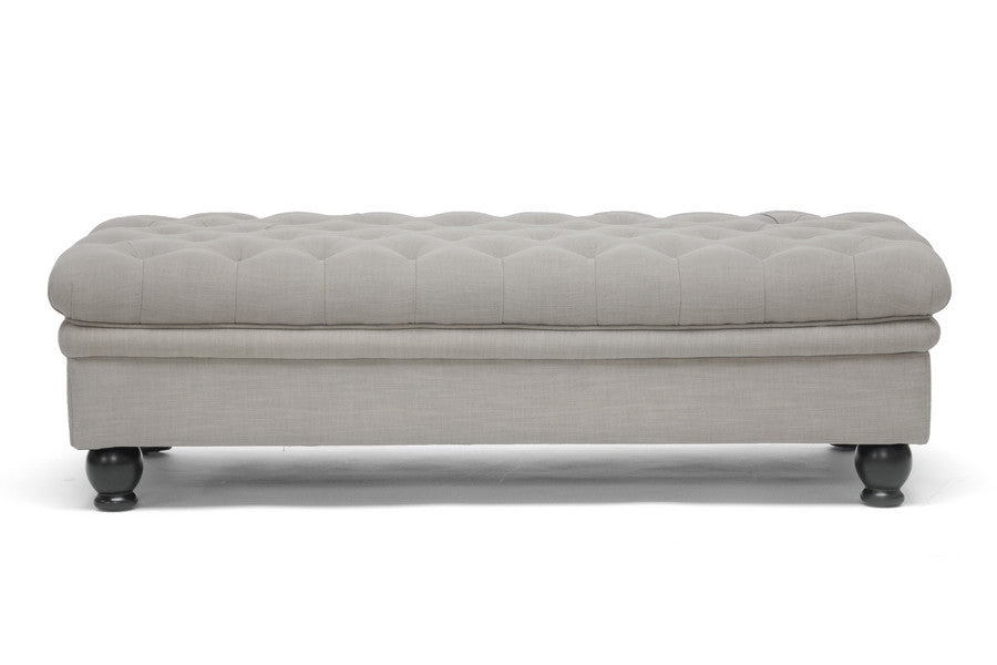 Baxton Studio Guildford  Linen Tufted Ottoman