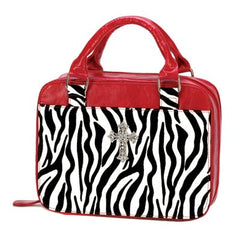 Red Zebra Print Bible Tote