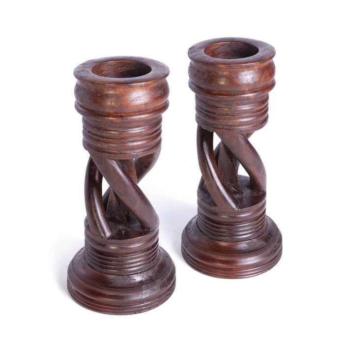 Pair of Wooden Spiral Candlesticks