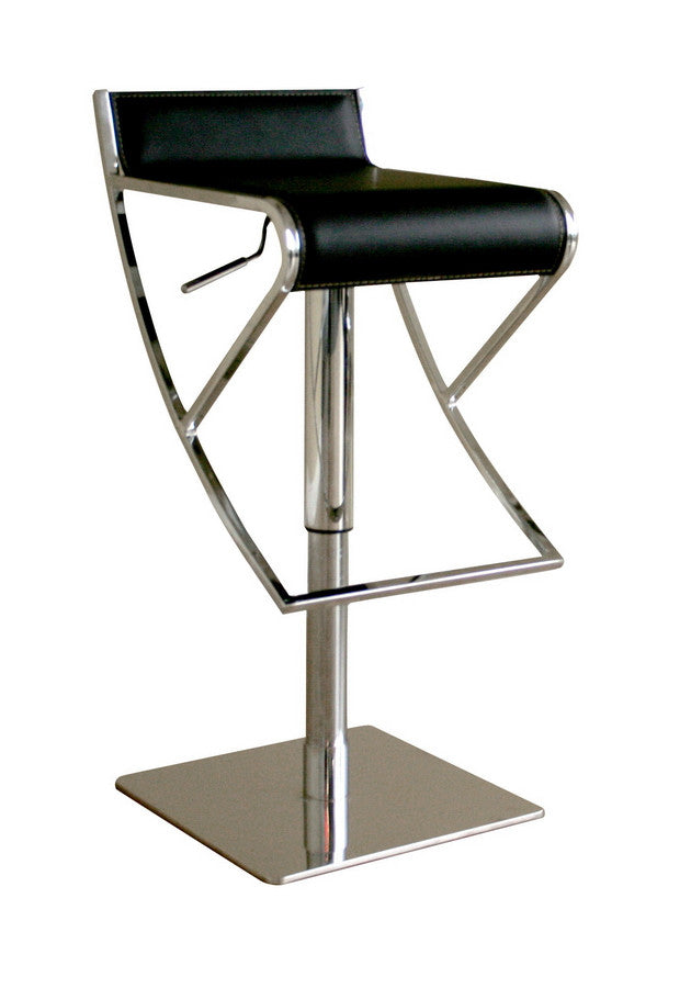 Baxton Studio Adjustable Black Leather Bar stool
