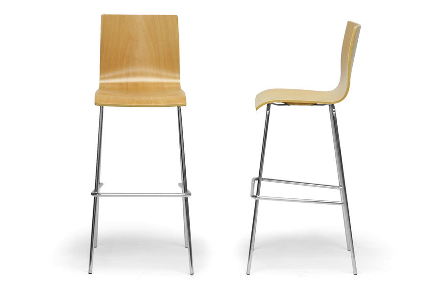 Baxton Studio Sydney Plywood Modern Bar Stool in Set of 2