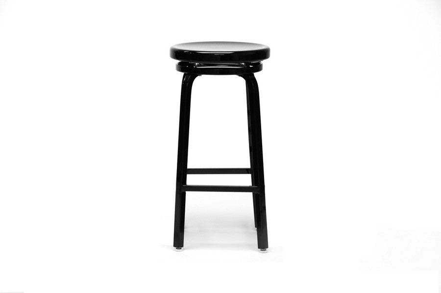 Baxton Studio Spin Swivel Bar Stool with Black Gloss Finish