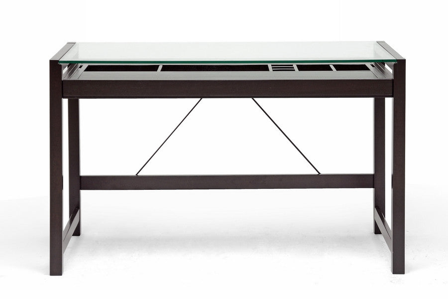 Baxton Studio Idabel Wood Desk with Glass Top