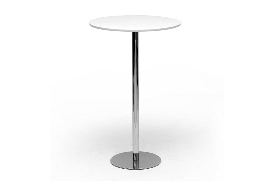 Baxton Studio Cordova White Plastic and Chrome Modern Bar Table