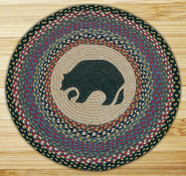 Black Bear Round Patch Rug