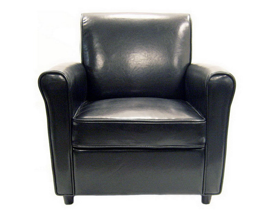 Baxton Studio Black Full Leather Club Chair