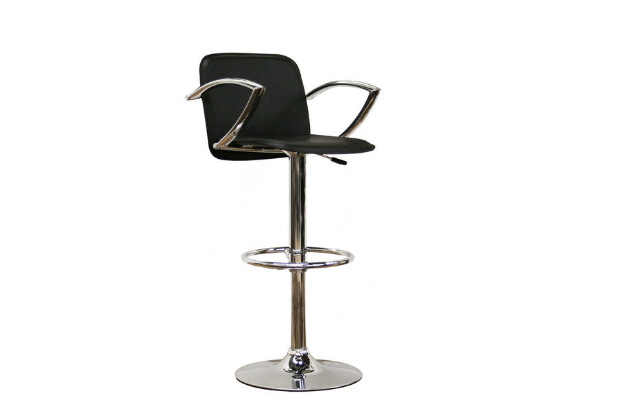 Baxton Studio Carmen Black Faux Leather Bar Stool
