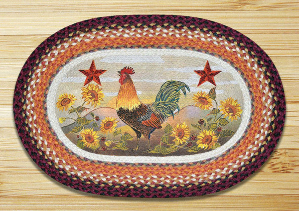 Morning Rooster Oval Patch Rug